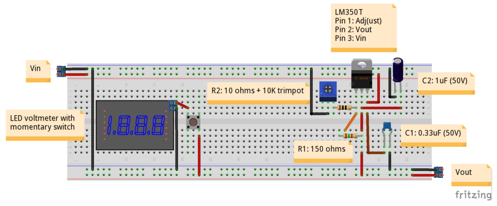 LM350 Variable Power Supply In Miniature